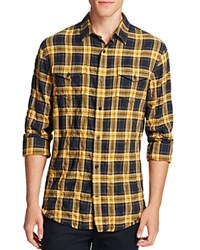 Vince Western Plaid Frayed Edge Slim Fit Button Down Shirt Navy Yellow