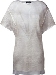 Avant Toi Semi Sheer Asymmetric Knitted T Shirt Nude And Neutrals