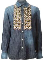 Dsquared2 Sequin Detail Denim Shirt Blue