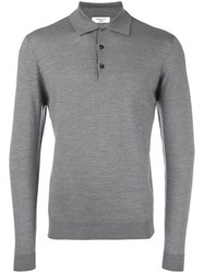 Fashion Clinic Long Sleeve Knitted Polo Shirt Grey