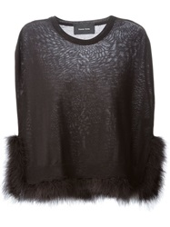 Simone Rocha Feather Trim Cape Black