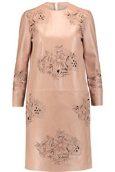 Rochas Laser Cut Leather Mini Dress Sand