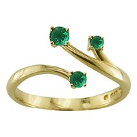 Ewa 9Ct Yellow Gold Open Stem Ring Emerald