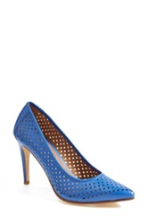 Halogen 'Mandie' Perforated Pointy Toe Pump Women Blue