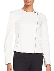 Armani Collezioni Leather Moto Jacket White