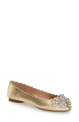 Dune 'Harra' Crystal Bow Ballerina Flat Women Champagne Leather