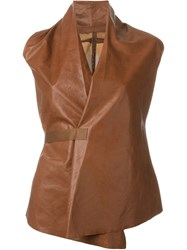 Rick Owens Leather Wrap Top Brown