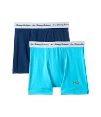 Tommy Bahama Solid Stretch Cotton Comfort Boxer Briefs 2 Pack Aqua Neptune Men's Underwear Multi