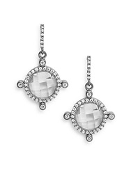 Freida Rothman Signature Large Blackened Sterling Silver Crown Drop Earrings