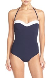 Women's Tory Burch Colorblock Underwire Bandeau One Piece Swimsuit