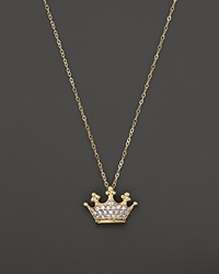 Bloomingdale's Diamond Crown Pendant Necklace In 14K Yellow Gold .10 Ct. T.W.