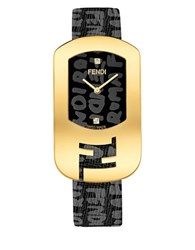 Fendi Diamond And Stainless Steel Leather Strap Watch Black