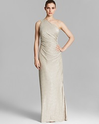 Laundry By Shelli Segal Gown One Shoulder Metallic Knit Ruched Side Jersey Gold Silver