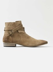 Topman Tan Leather Buckle Boots Brown