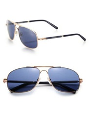 Montblanc 61Mm Navigator Sunglasses Gold Blue
