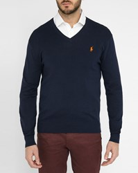 Polo Ralph Lauren Navy Pima Cotton V Neck Sweater