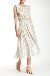 Alice Olivia Evita Mid Length Silk Blend Skirt Metallic