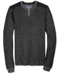 American Rag Men's Plaited Pieced Henley Sweater Only At Macy's Deep Black