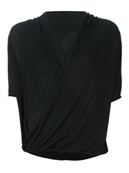 Thom Krom Wrap V Neck Top Black