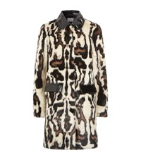 Carven Leopard Print Fur Coat Female Multi