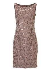 Vera Mont Net And Sequin Embellished Dress Brown