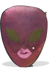 Charlotte Olympia Alienora Iridescent Textured Leather Clutch Purple