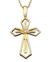 Macy's 14K White Or Yellow Gold Pendant Diamond Accent Cross