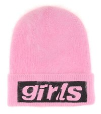 Alexander Wang Embroidered Angora Blend Beanie Pink
