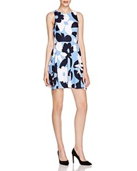 Aqua Floral Print Skater Dress Navy Sky Blue White