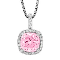 Jools By Jenny Brown Sterling Silver Cubic Zirconia Square Cushion Pendant Pink