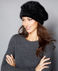 The Fur Vault Knitted Mink Beret Black