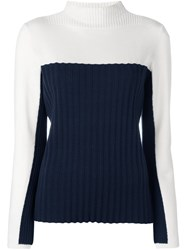 Cedric Charlier Ribbed Panel Jumper Blue
