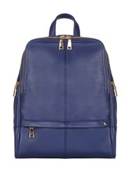 Yumi Faux Leather Gold Zip Backpack Navy