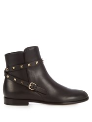 Valentino Rockstud Leather Ankle Boots Black