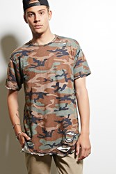 Forever 21 Eptm. Distressed Camo Tee Green Olive