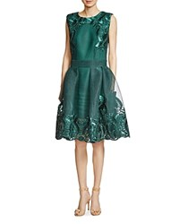Maje Reason Embroidered Honeycomb Dress Vert