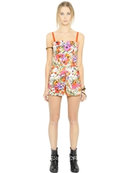 Blugirl Floral Printed Cotton Satin Romper Multi