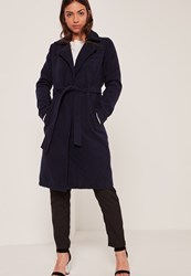 Missguided Navy Belted Tailored Faux Wool Coat