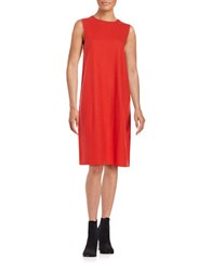 Eileen Fisher Petite Textured Cotton Blend Shift Dress Poppy