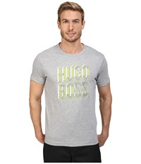 Hugo Boss Tee 2 10165506 01 Grey Green Print Men's T Shirt Gray