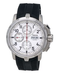 Venus Of Switzerland Time Date Gent Chronograph Watch W Rubber Strap Silver