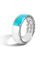 John Hardy Men's Classic Chain Silver Band Ring With Turquoise