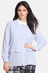 Eloquii Scalloped Collar Blouse Plus Size Blue