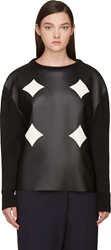 Cnc Costume National Black Leather Panel Sweater