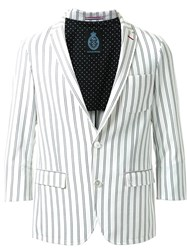 Guild Prime Double Pinstripe Single Breasted Blazer White