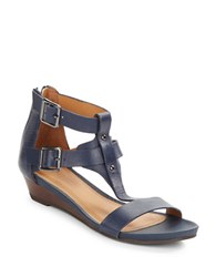 Kenneth Cole Reaction Great Step Leather Sandals Navy Blue