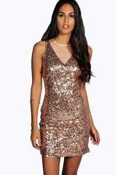 Boohoo All Over Sequin Open Back Bodycon Dress Rose Gold