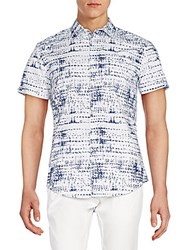 Calvin Klein Jeans Printed Cotton Short Sleeve Shirt Estate Blue