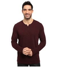 Kenneth Cole Long Sleeve Slub Henley Merlot Men's Long Sleeve Pullover Red