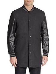 American Stitch Faux Leather Sleeve Wool Blend Varsity Coat Black